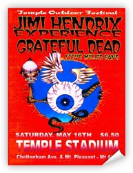 Jimi Hendrix & Grateful Dead at Temple Stadium Poster from www.retrophilly.com
