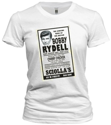 Vintage ad of Bobby Rydell appearance at Sciolla's Nightclub t-shirt exclusively from www.retrophilly.com