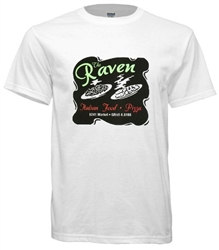retro t-shirt design of legendary Philadelphia defunct Italian restaurant, The Raven from www.retrophilly.com