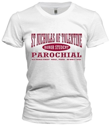 Vintage St Nicholas of Tolentine Elementary Philadelphia Old School T-Shirt from www.retrophilly.com